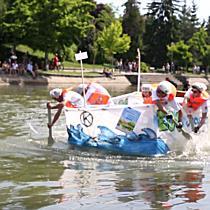 Barci trasnite, din materiale reciclabile, la intrecere pe Bega