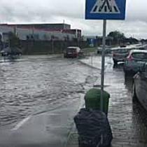 Curti inundate si o masina blocata sub podul din Calea Sagului, din cauza ploii, in Timis II