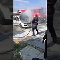 Taximetru cuprins de flacari in zona Pietei Mehala din Timisoara