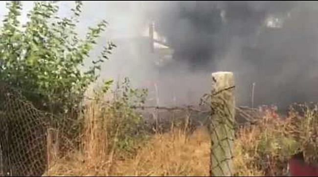 Incendiu puternic de vegetatie in apropiere de podul din Calea Sagului