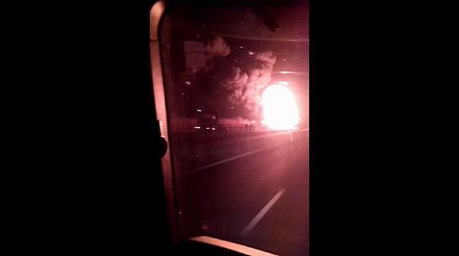 Incendiu puternic pe autostrada Arad - Timisoara